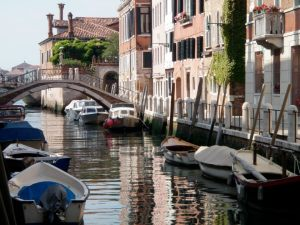 Dorsoduro, Venice - tranquil canal on a warm summer morning