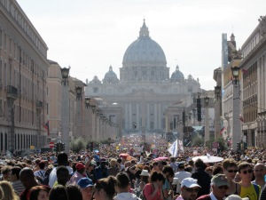 the faithful converge on Vatican City during an appearance by his Holiness, the Pope