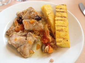 coniglio verdure - rabbit with vegetables, in umido, served with polenta
