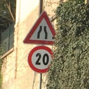 road narrows - speed 20 kph