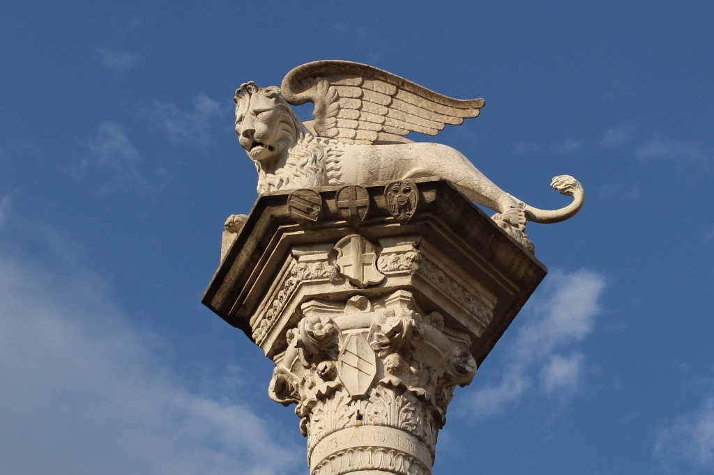 Detail of the lion of Saint Mark in Piazza dei Signori, the symbol of the Venetian republic.