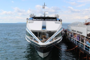 The Capri to Sorrento ferry discharges a full load of tourists.