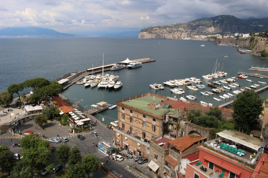 Sorrento harbor, as viewed from the winding road down to the port.