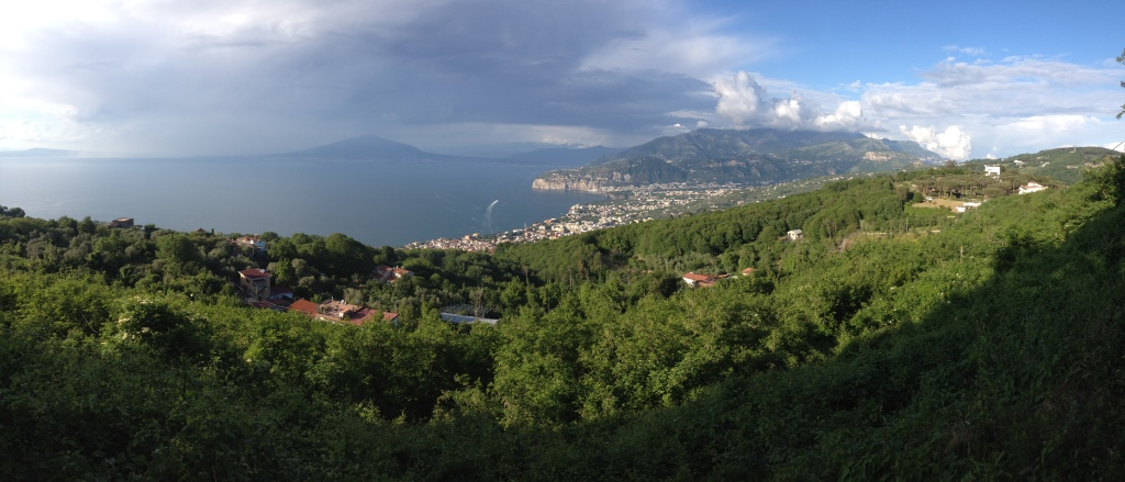 Vista from Monastero di San Paolo, across the bay of Naples, toward Mount Vesuvius.