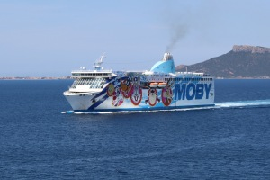 The 'Moby Aki' enters the Gulf of Olbia as we depart.