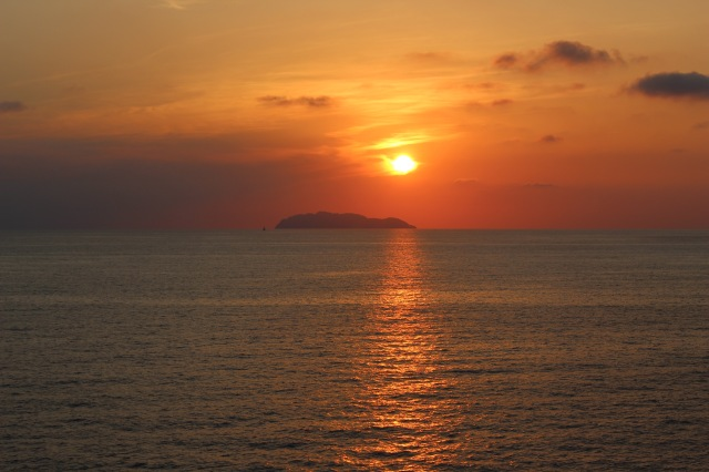 spectacular sunset over the Island of Gorgona