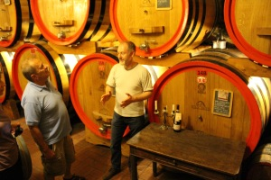 explaining the finer points of wine production techniques at Villa Crine