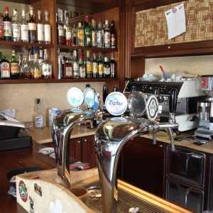 a scene duplicated in a thousand mom and pop bars and trattorias all over italy - beer and wine on tap, espresso machine, at least two dozen liquors and digestivos