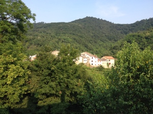 Grancare and the hills of the Colli Berici as seen from the second level of Bed and Breakfast La Colombara.