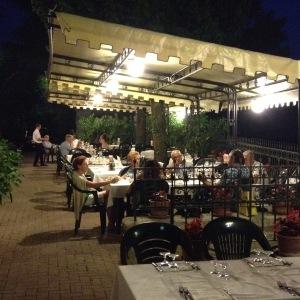 al fresco terrace dining at Vecia Priara