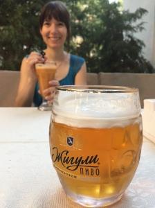 enjoying a Russian beer at an idylic Tashkent café