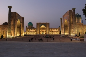 the iconic registan complex lit up the night before our tour