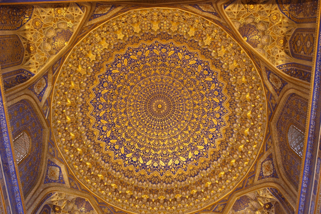"the truly ""gilded"" interior of the blue domed gilded mosque within the Tilya-Kori Madrasah"