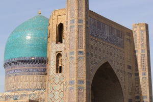 The 40m dome of the Bibi Khanym mosque towers above modern Samarkand